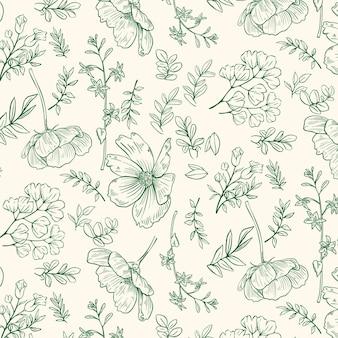 Engraving hand drawn botanical pattern