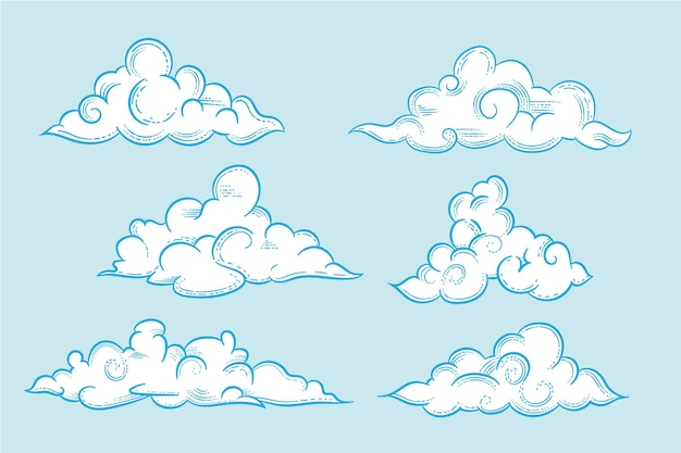 Engraving hand drawn cloud in the sky collection
