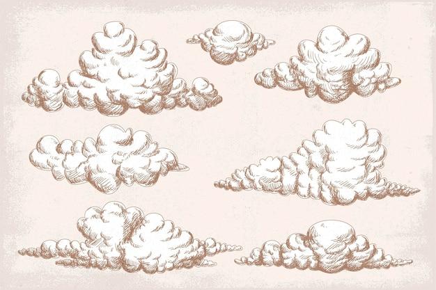Collezione di nuvole disegnate a mano con incisione