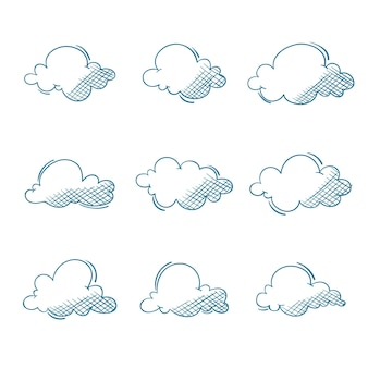 Engraving hand drawn clouds collection