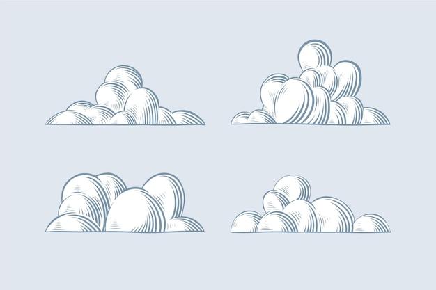 손으로 그린 구름 컬렉션 조각