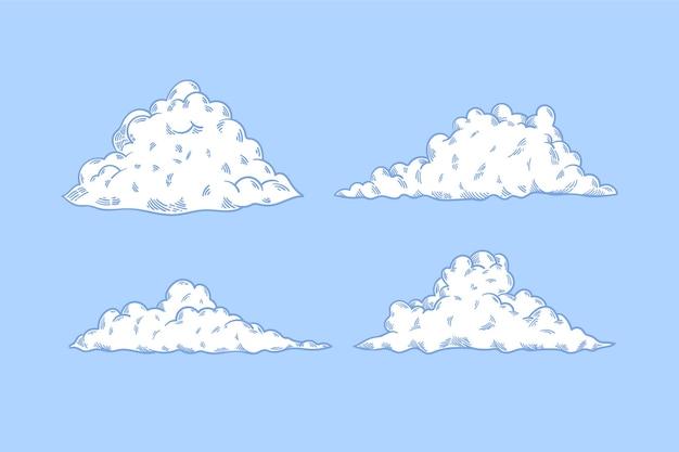 Гравюра рисованной коллекции облаков