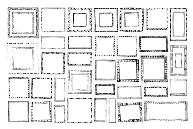 Collezione di cornici per scarabocchi disegnati a mano con incisione