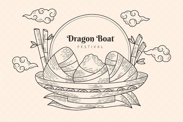 Engraving hand drawn dragon boat's zongzi background