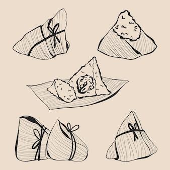 손으로 그린 드래곤 보트의 zongzi 컬렉션 조각