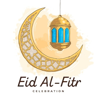 Гравюра рисованной ид аль-фитр - иллюстрация хари райя аидилфитри