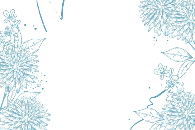 Engraving hand drawn floral background Free Vector