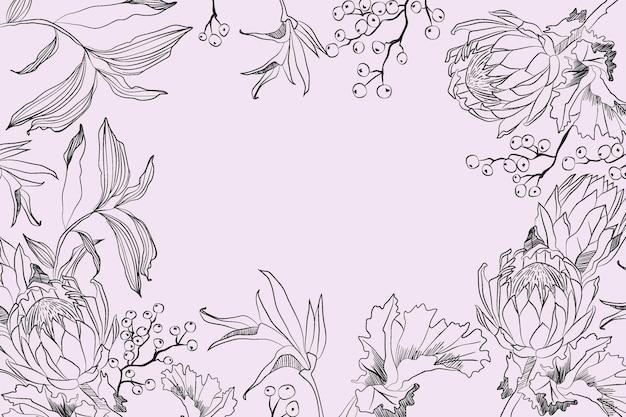 手描きの花の背景を彫刻 無料ベクター