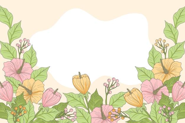 手描きの花の背景を彫刻