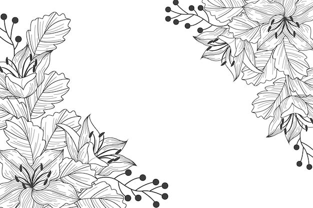 Engraving hand drawn floral background
