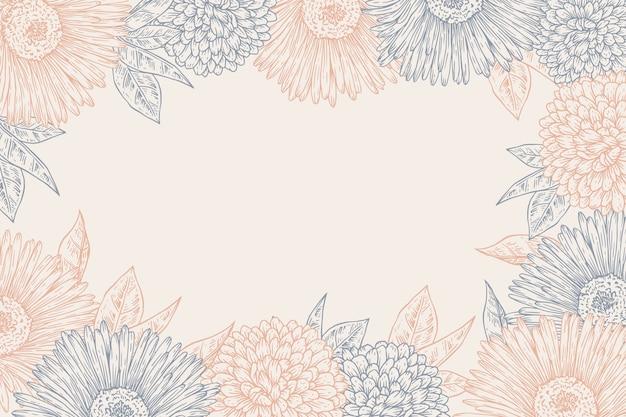손으로 그린 꽃 배경 조각