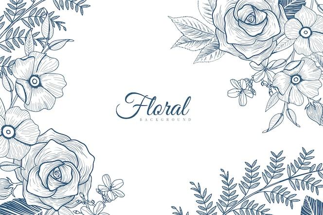 Гравюра рисованной цветочный фон