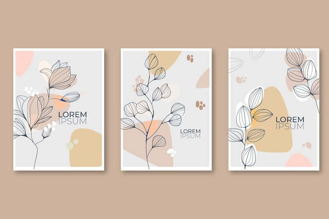 Engraving hand drawn floral cards collection