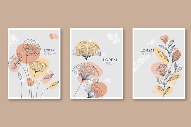 Гравюра рисованной коллекции цветочных открыток