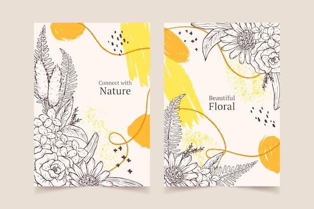 손으로 그린 꽃 카드 컬렉션 조각
