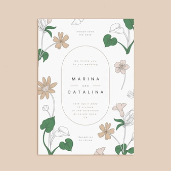 手描きの花の結婚式の招待状のテンプレートを刻む
