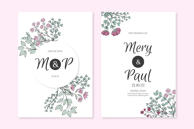 Engraving hand drawn floral wedding invitation template