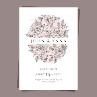 Гравировка рисованной цветочные свадебные приглашения Бесплатные векторы