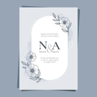 Engraving hand drawn floral wedding invitation