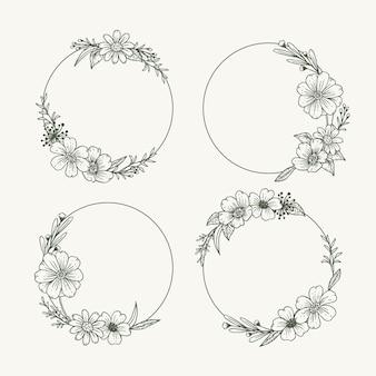 手描きの花輪コレクションの彫刻