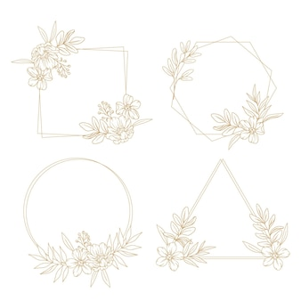 Engraving hand drawn floral wreath collection