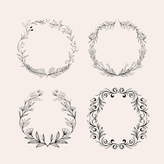Engraving hand drawn floral wreaths collection