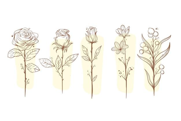 손으로 그린 꽃 컬렉션 조각