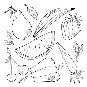 Raccolta di frutta disegnata a mano di incisione