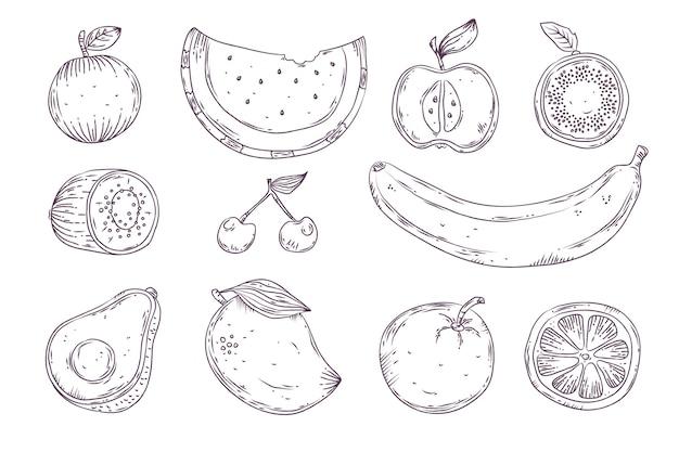 Engraving hand drawn fruit set