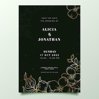 Modello di invito di nozze d'oro disegnato a mano dell'incisione