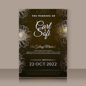 手描きの黄金の結婚式の招待状のテンプレートを刻む