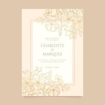 Гравюра рисованной золотой свадебный шаблон приглашения