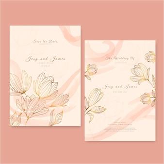 Engraving hand drawn golden wedding invitation template