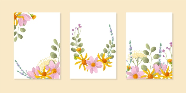 Engraving hand drawn hand painted watercolor floral cards collection