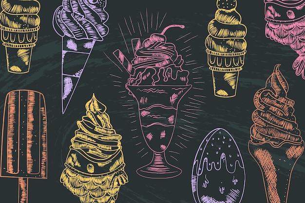 Engraving hand drawn ice cream blackboard background