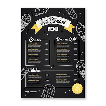 Engraving hand drawn ice cream blackboard menu template