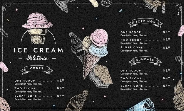 조각 손으로 그린 아이스크림 칠판 메뉴 템플릿
