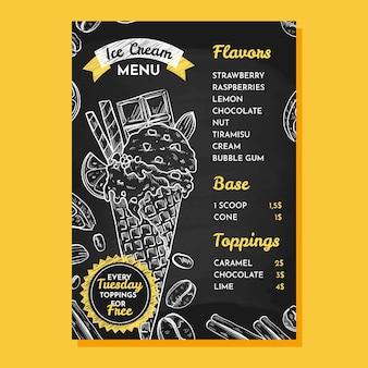 Гравюра рисованной мороженого шаблон меню доски
