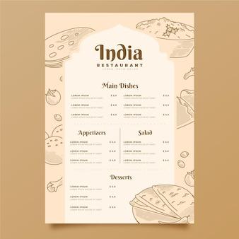 Engraving hand drawn indian menu