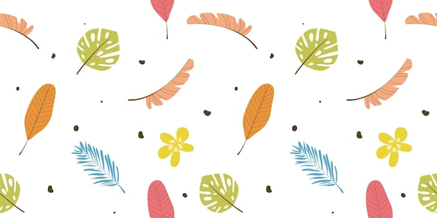 Engraving hand drawn leaves seamless pattern free vector