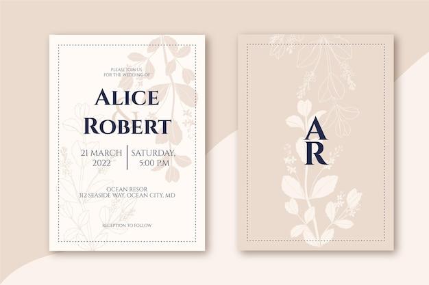 手描きの最小限の結婚式の招待状のテンプレートを刻む