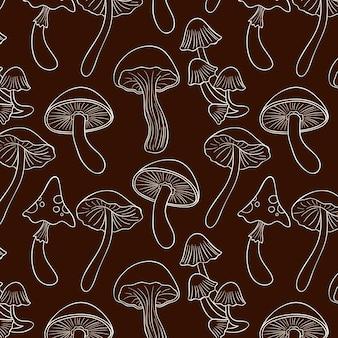 Engravinghand drawn mushroom pattern