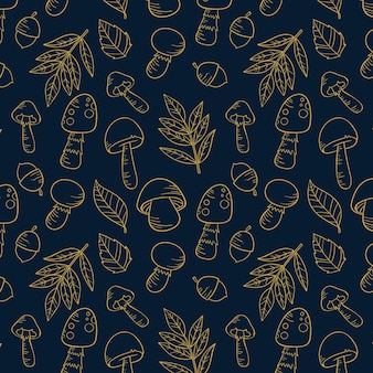 손으로 그린 버섯 패턴 조각