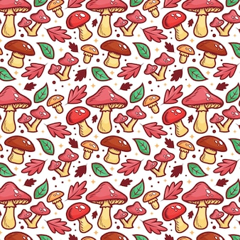 Engraving hand drawn mushroom pattern
