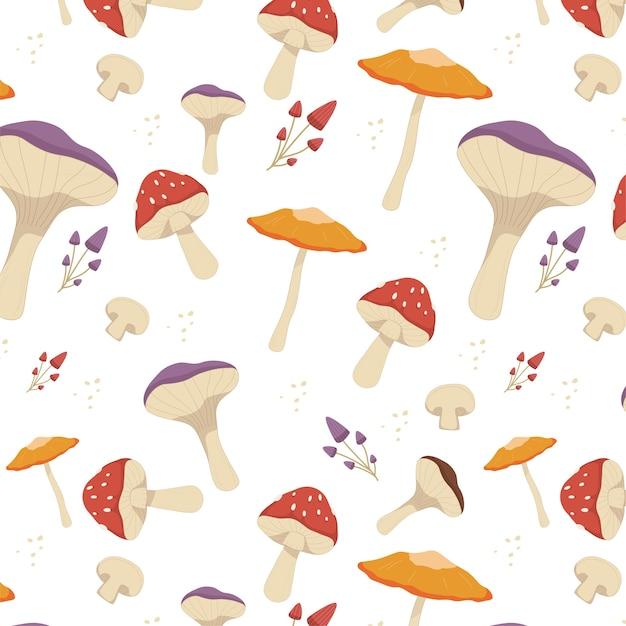 Гравюра рисованной грибной узор