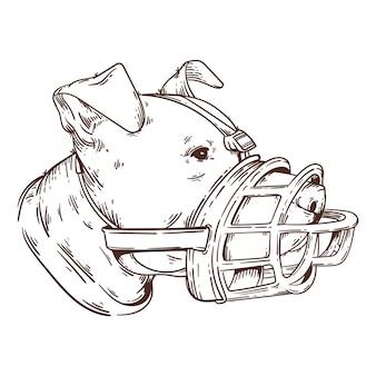 Incisione cane con museruola disegnata a mano