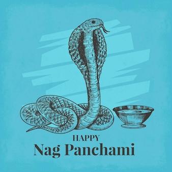 Engraving hand drawn nag panchami illustration