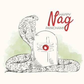 Engraving hand drawn nag panchami illustration Free Vector