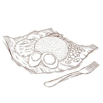 Гравюра рисованной наси лемак