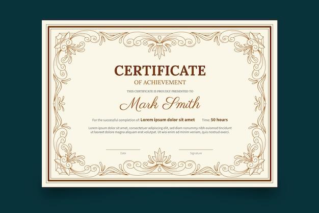 Modello di certificato ornamentale disegnato a mano di incisione Vettore gratuito